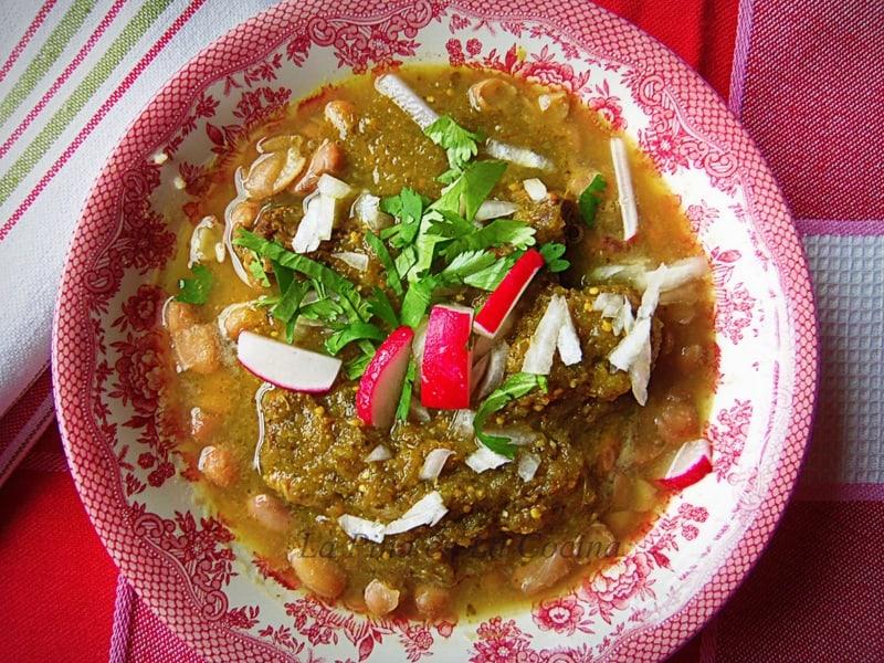 Carne en Su Jugo-Braised Beef Flank in a Tomatillo Broth
