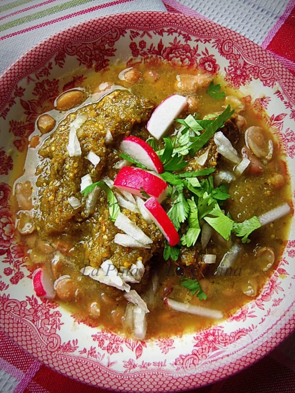 Carne en Su Jugo-Braised Beef Flank in a Tomatillo Broth