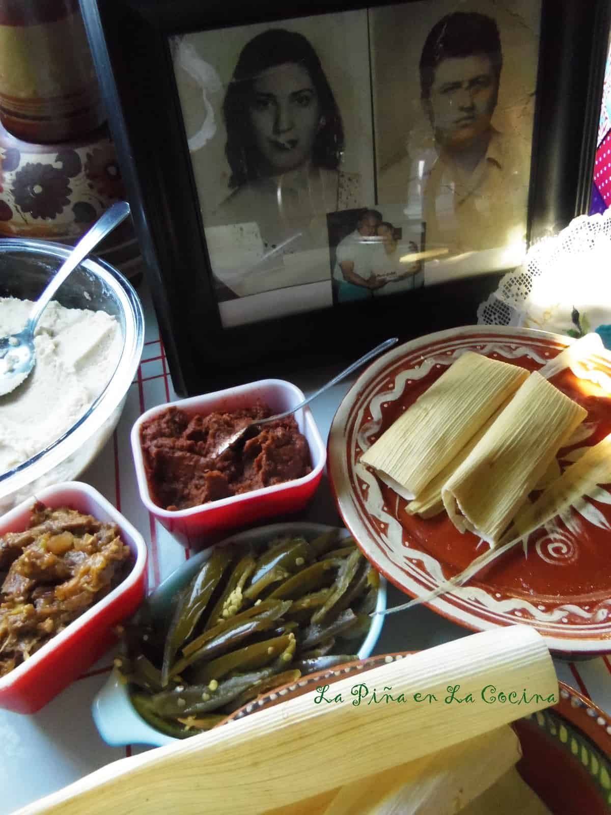 When assembling the tamales, it's best to set up a n assembly line of all the ingredients you will need.