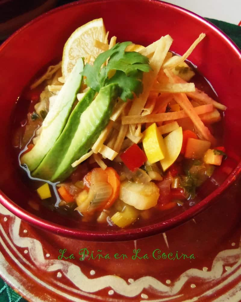 Vegetable Tortilla Soup #tortillasoup #TexMex #souprecipes