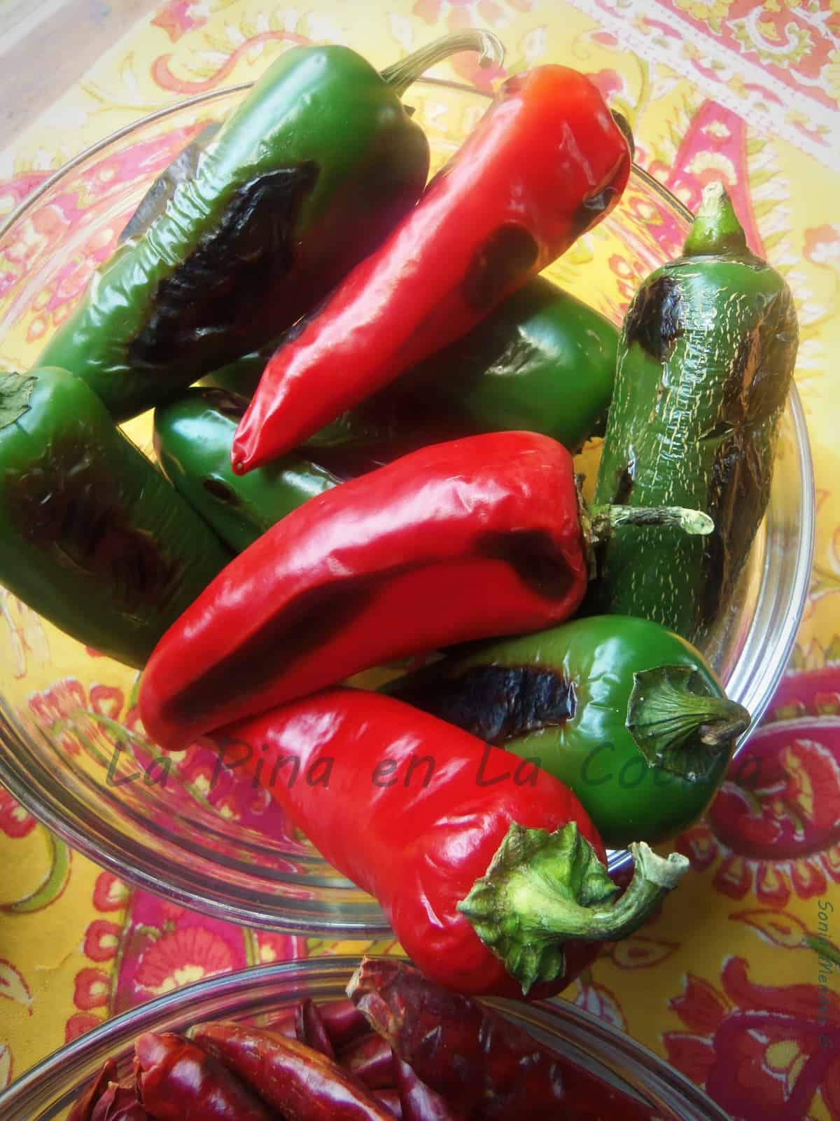 Charred Jalapenos and Fresno Peppers