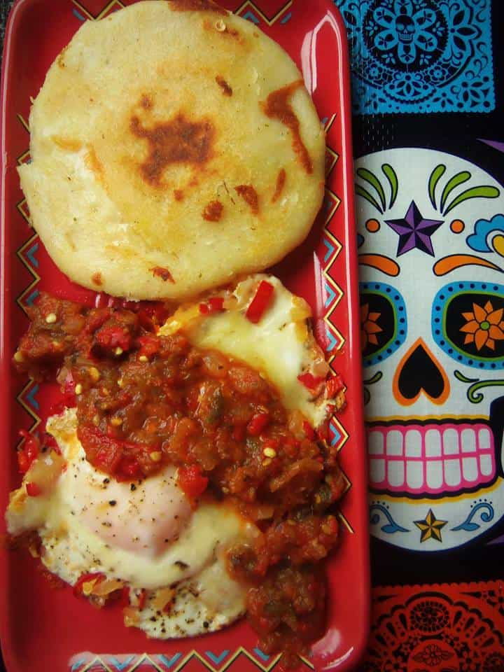 Arepa stuffed with manchego cheese before I cooked it.