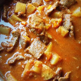 Carne Guisada Con Papa. Beef and Potatoes