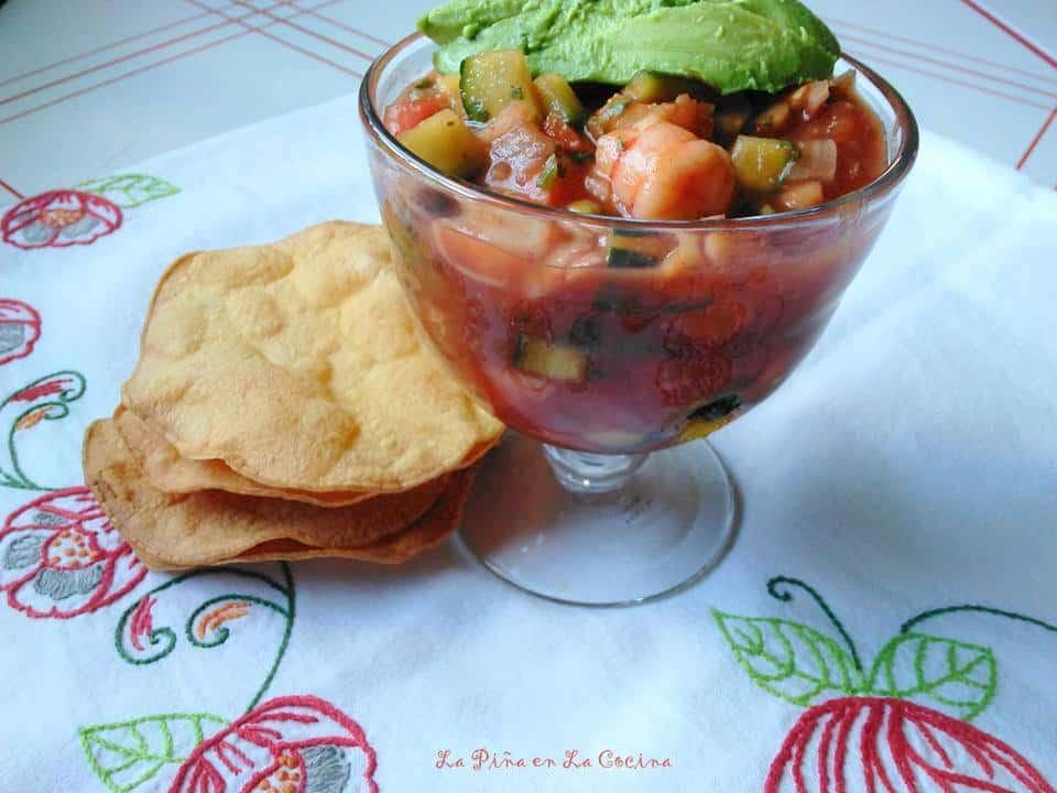 Coctel de Camarones. Mexican Shrimp Cocktail in a glass cup