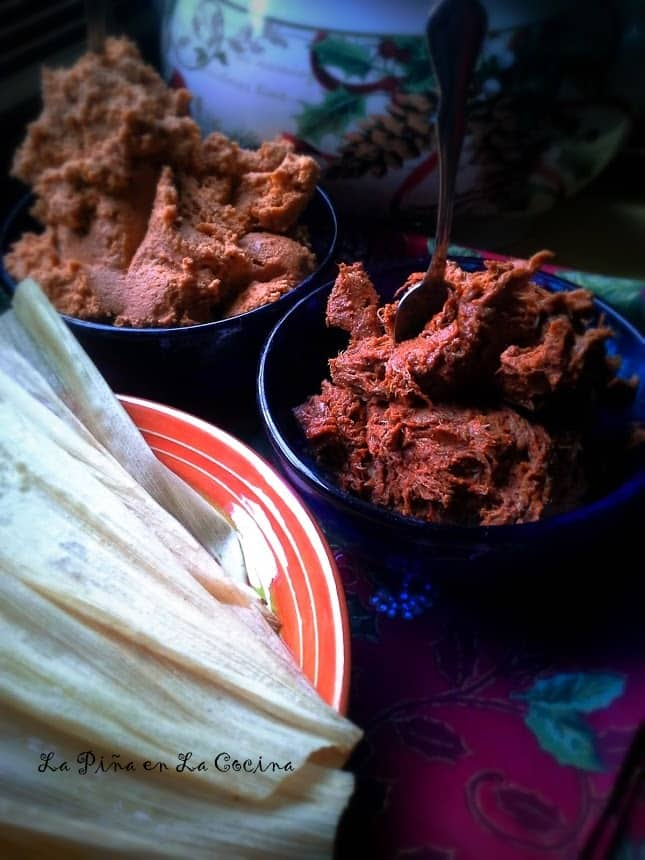 Chile Colorado Pork Tamales ingredients in bowls