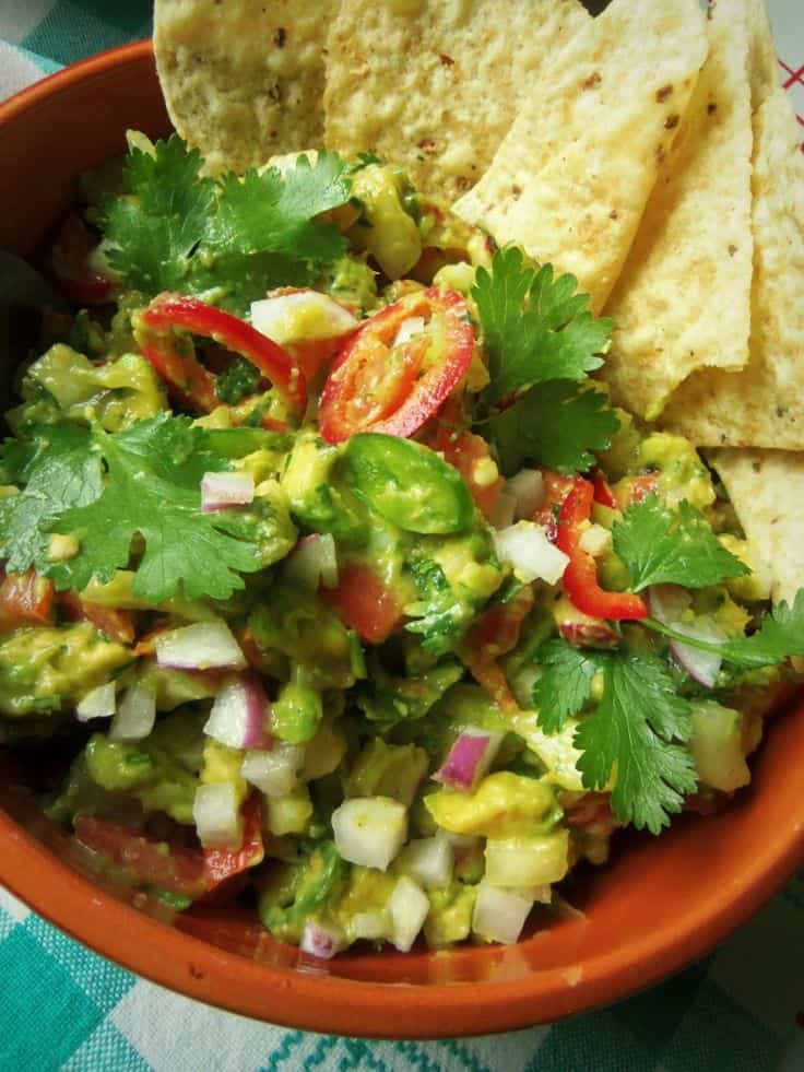 Mixed Pepper Guacamole with Crisp Radishes