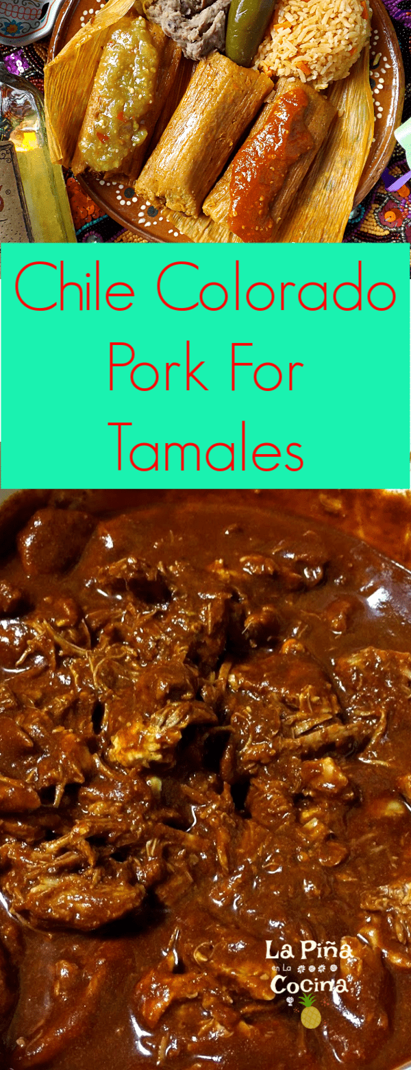 Pinterest image of pork meat for tamales