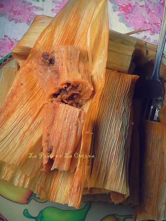Chile Colorado Pork Tamales on corn husk