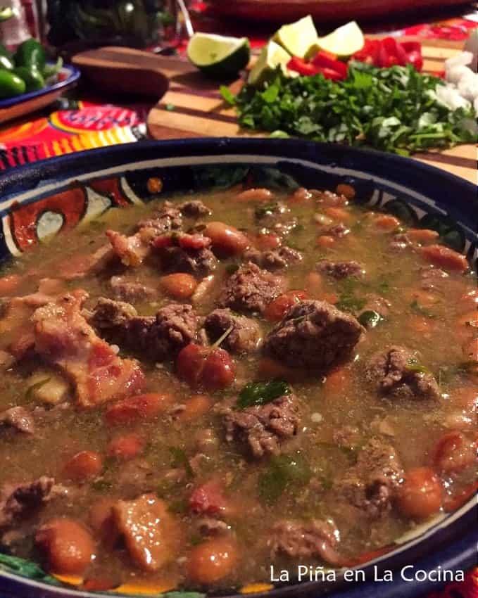 Carne en Su Jugo. Beef in a Tomatillo Broth Before Garnishes