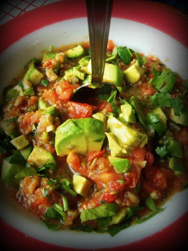 Roasted Garlic Tomato Salsa with Avocado