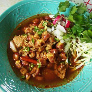 Pozole de Pollo con Maiz Morado (Chicken Pozole with Purple Hominy)