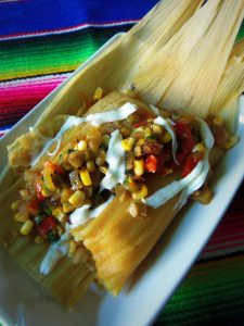 Grilled Corn, Green Chile and Cheese Tamal
