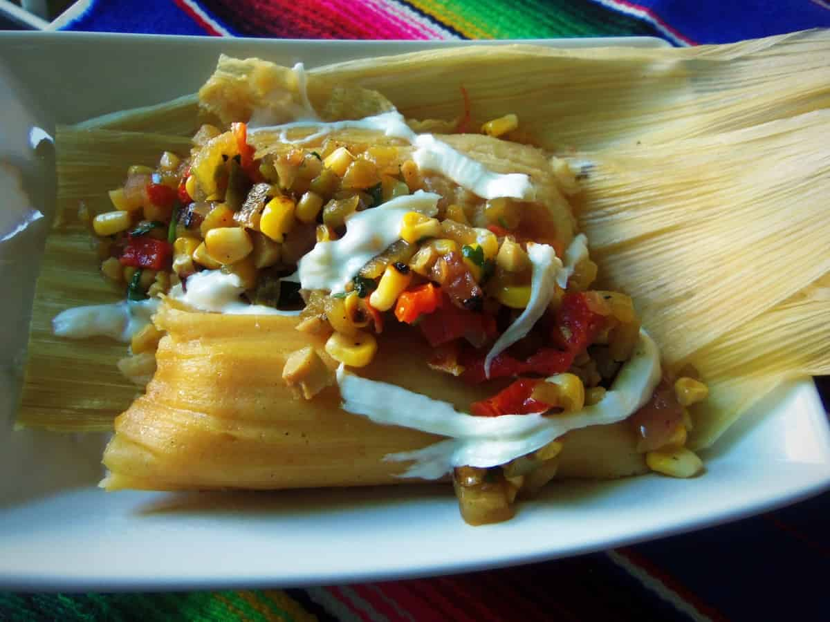 Grilled Corn,Green Chile and Cheese Tamal