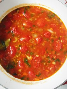 Tomato Tortilla Soup Before Blending