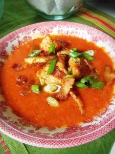 Tomato Tortilla Soup with Croutons and Bacon