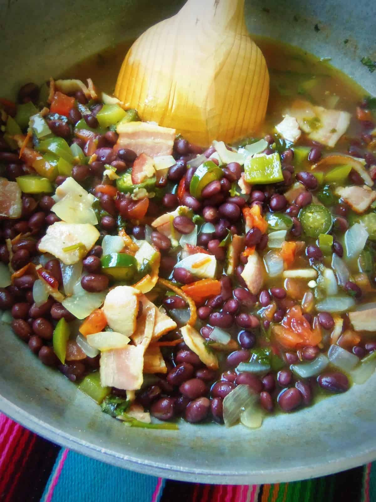 Frijoles Charros or a la Charra using black beans