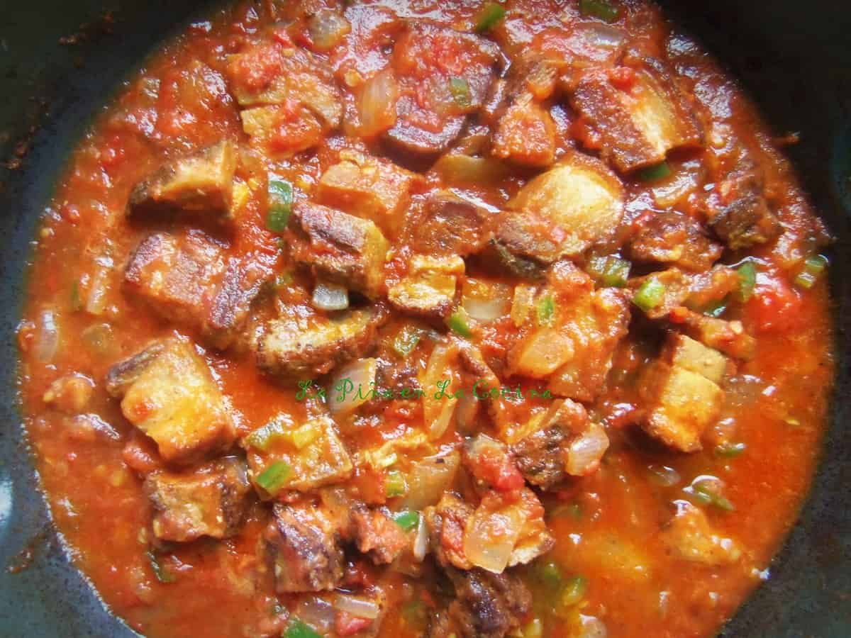 Once in a while I will treat myself and prepare a small pan of chicharrones in a spicy salsa for brunch.