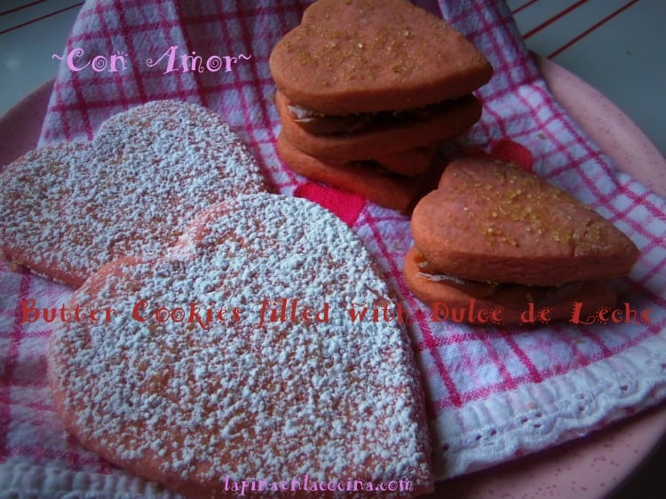 Pink Butter Cookies with Dulce de Leche