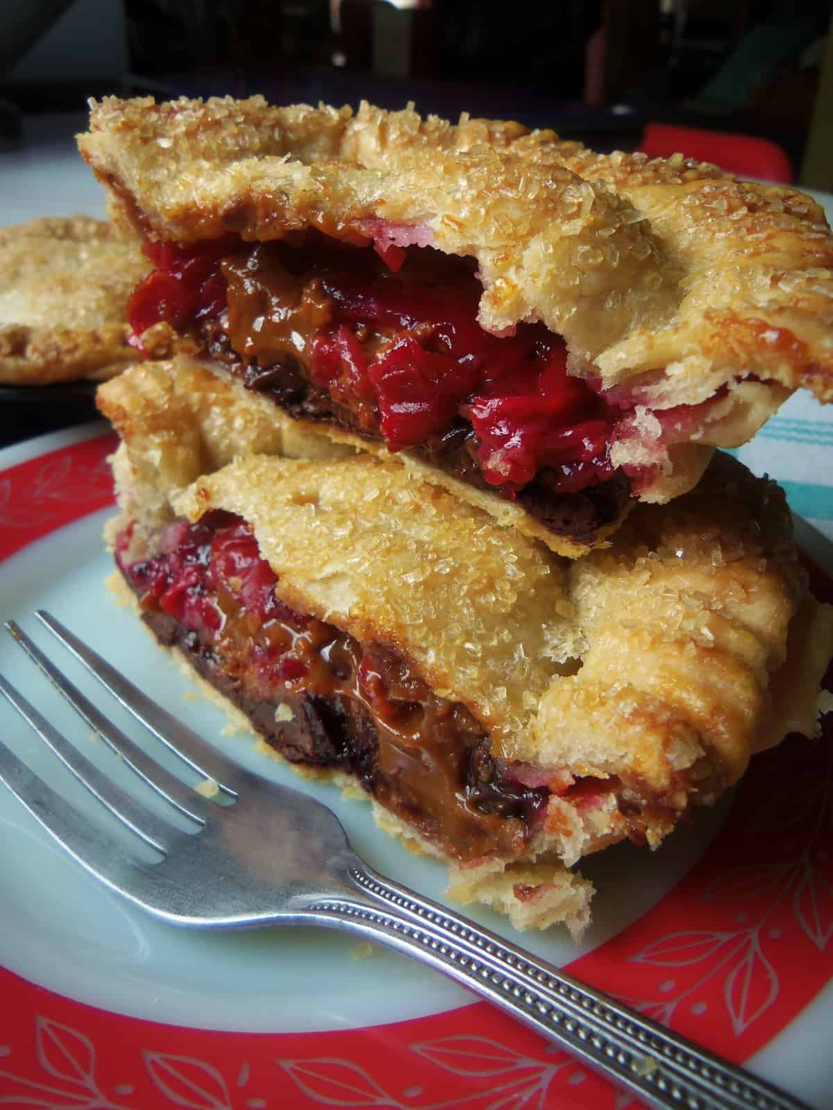 Chocolate Chunk Cherry Pies with Dulce de Leche