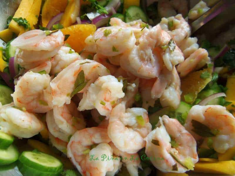 Shrimp Ceviche Cooked In Lime Juice