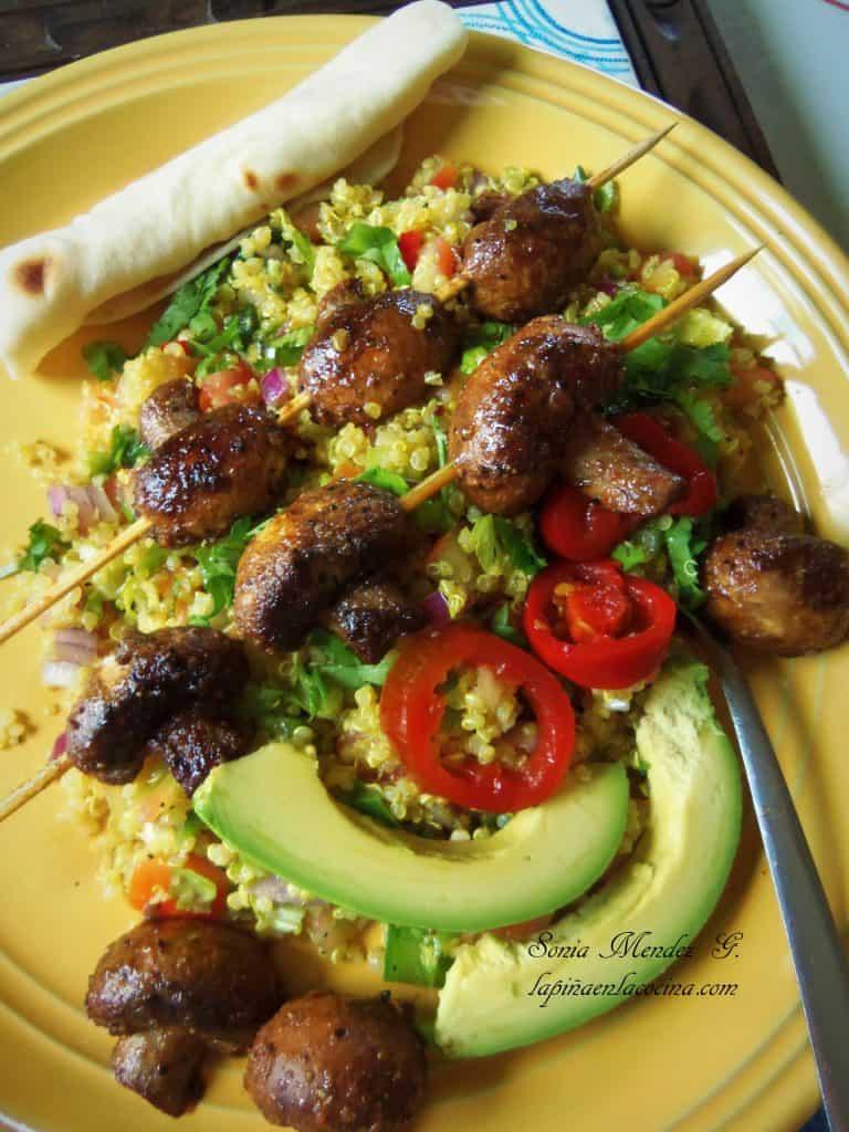 Grilled Mushrooms over Zesty Qiunoa Salad