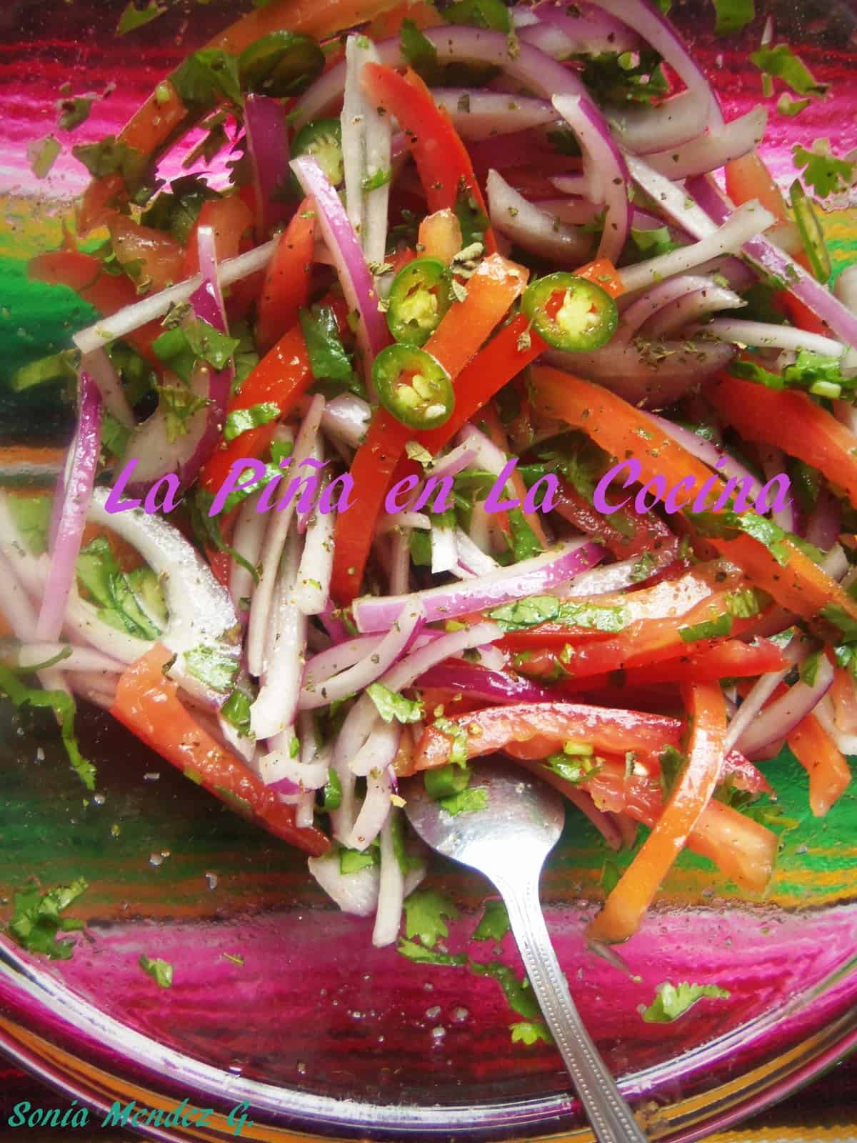 Tomato, Red Onion, Cilantro and Serrano Slaw. I love this as a topping for tacos or simply on a bed of rice.