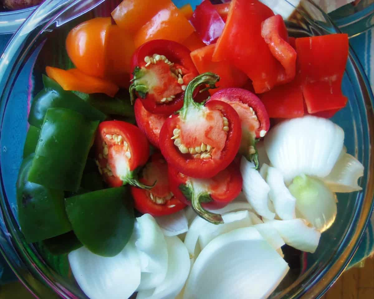 Prepping some veggies for grilled kabobs.