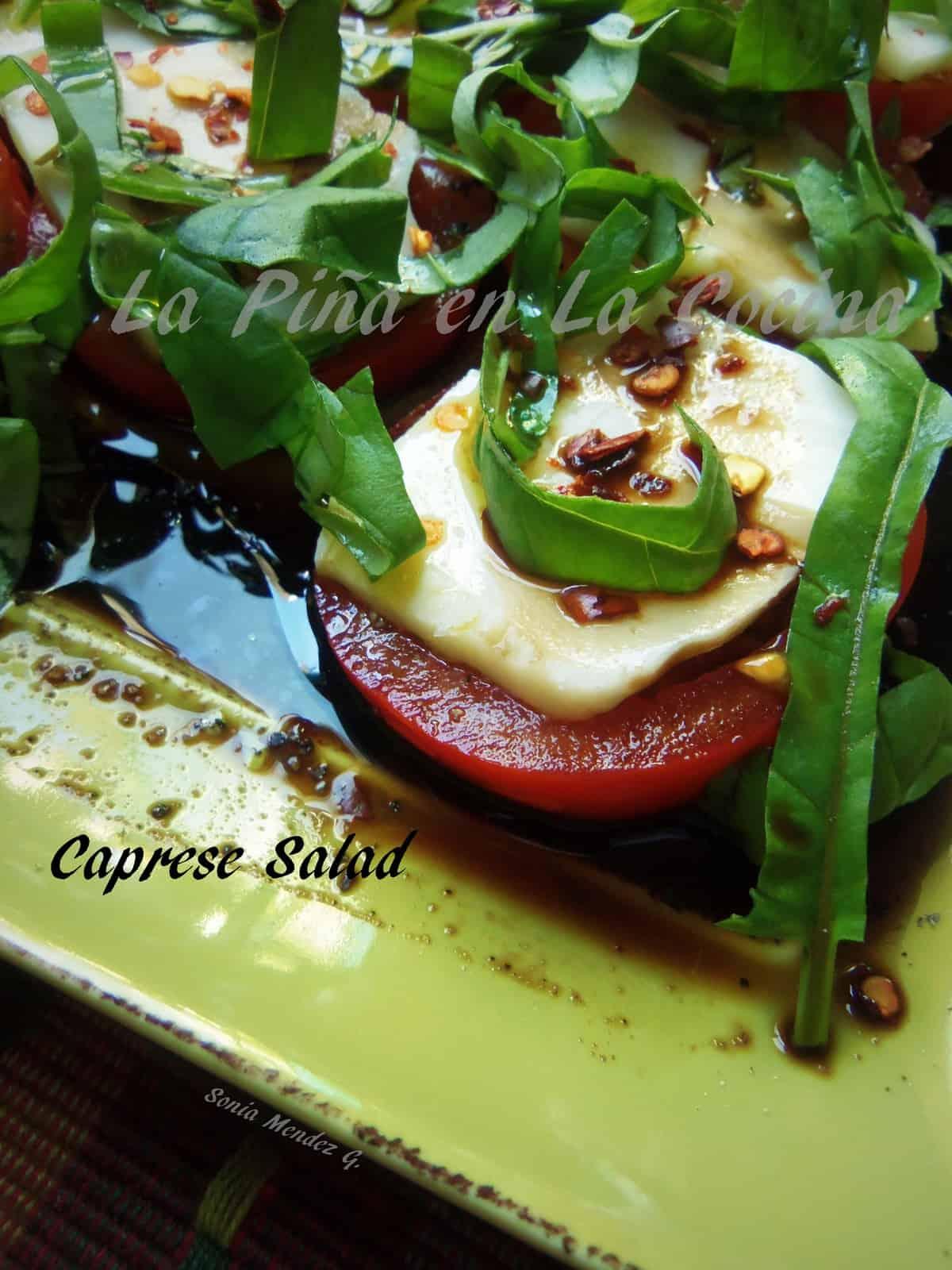Caprese Salad, Tomato, Mozzarella and Fresh Basil with Balsamic Vinegar, Olive oil