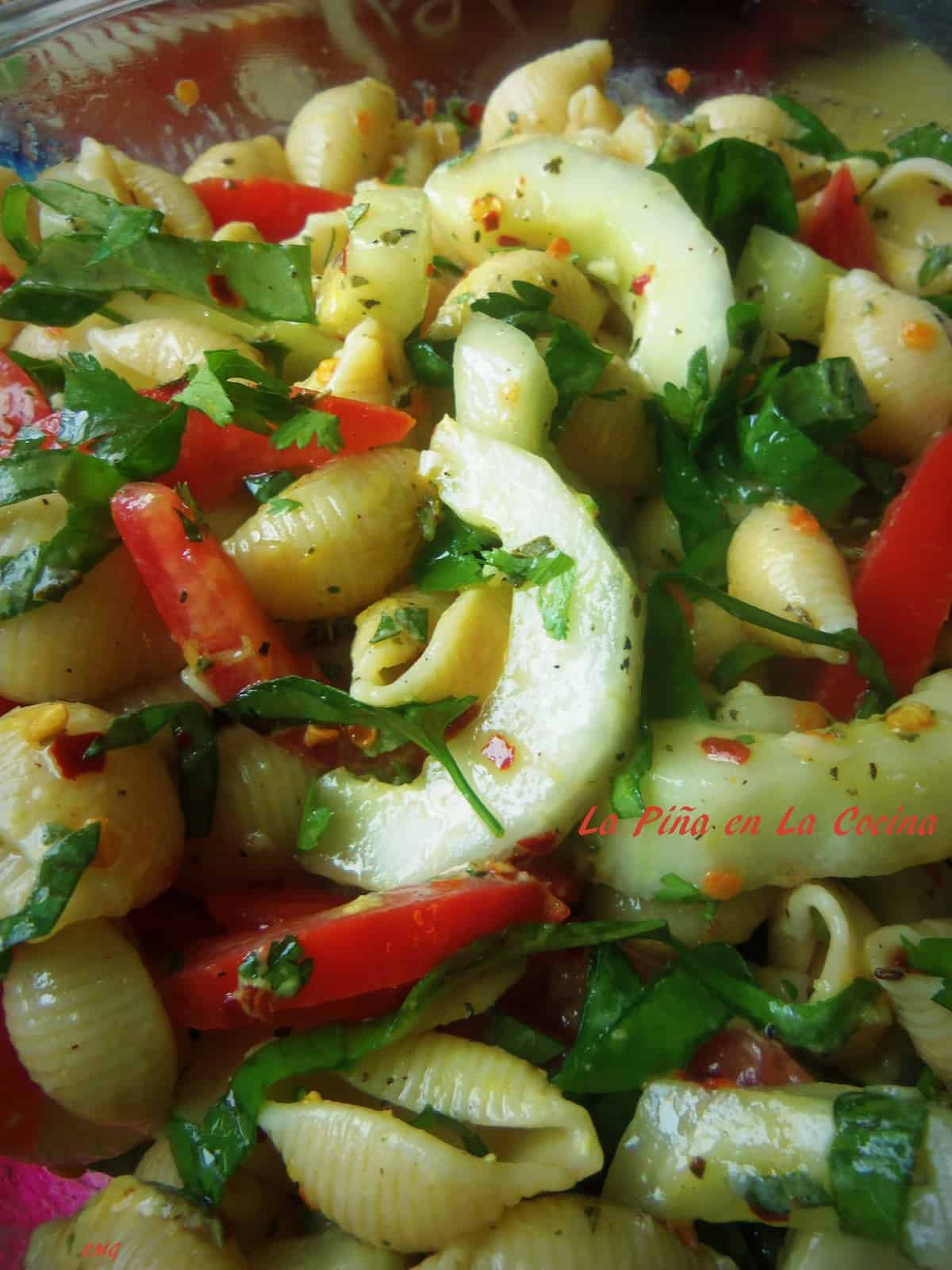Fresh Herb Tomato Cucumber Pasta Salad