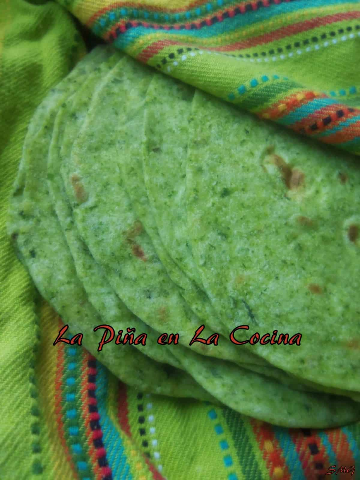 Spinach and Jalpeño Flour Tortillas