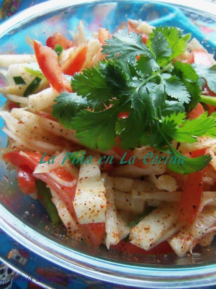 Jicama Salad is great to eat as is or as a garnish for seafood and grilled meats