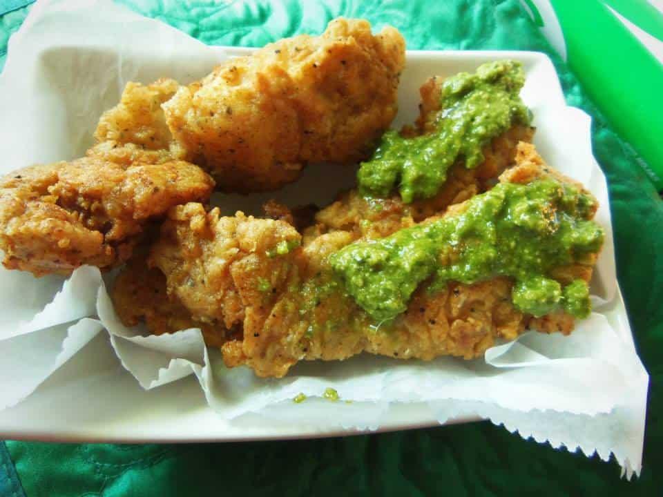 Crunchy Chicken Tenders with Cilantro Avocado Sauce