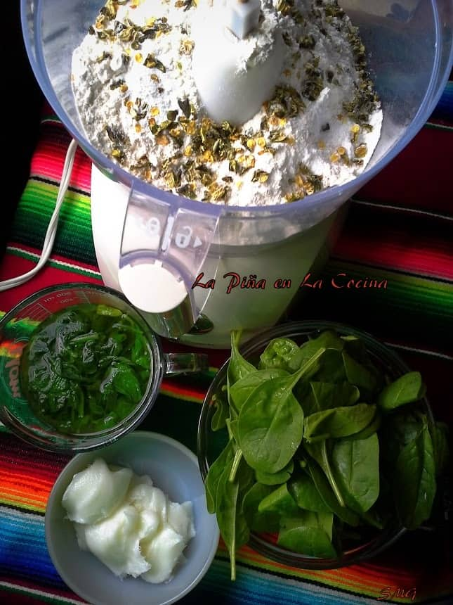 Usinf the processor for flour tortilla dough infused with spinach and jalapeño
