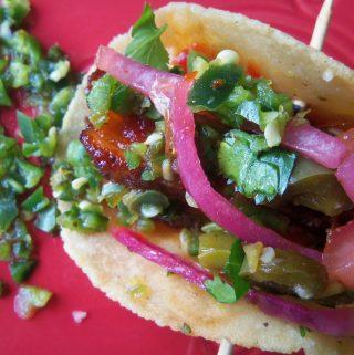 Pork Belly Recipes~Spicy Pork Tacos with Serrano Jalapeño Salsa