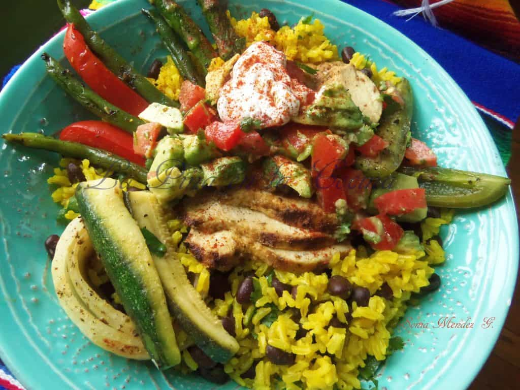 Grilled Marinated Chciken, Grilled Lemon Pepper Veggies, Cilantro Citrus Yellow Rice with Black Beans