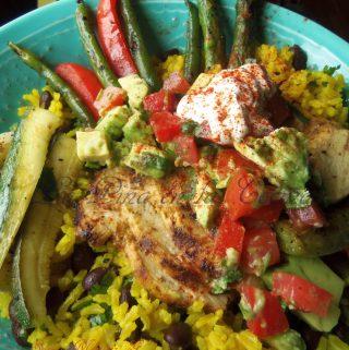 Grilled Jalapeño Garlic Chicken ~Rice Bowls