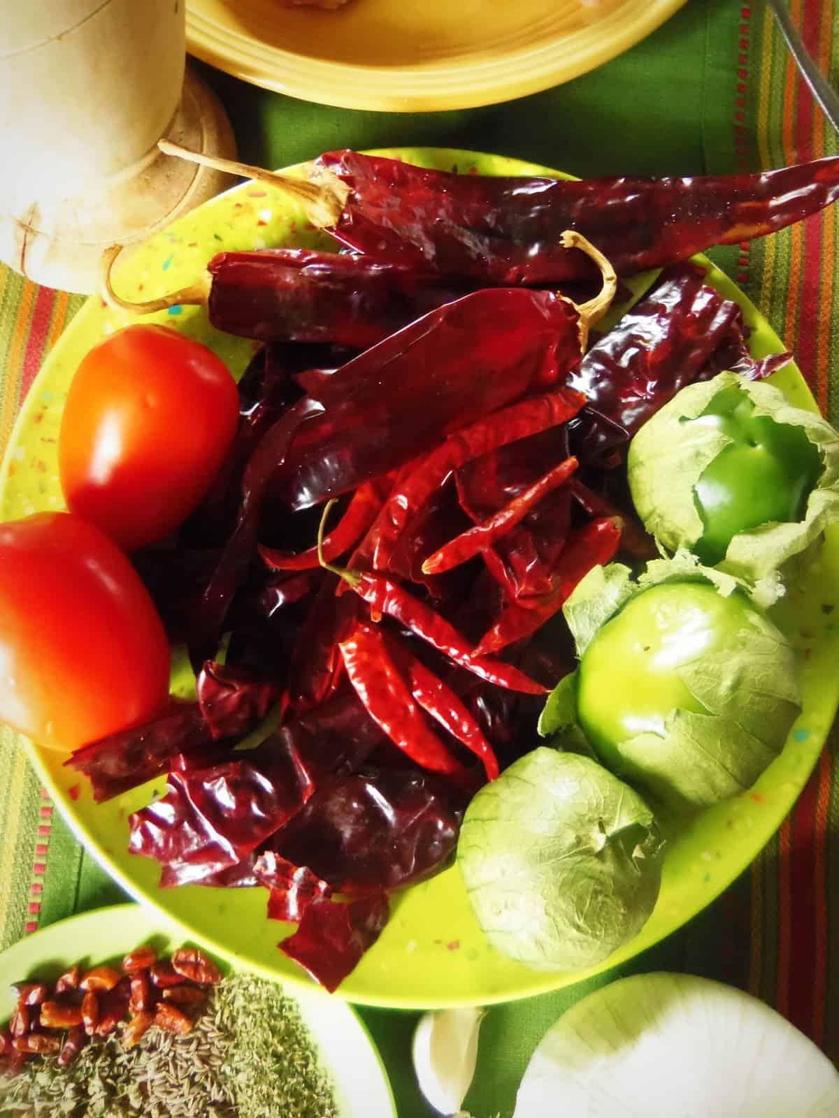 Guajillo, Chile de Arbol, Tomatillos and tomatoes....to make a salsa or sauce