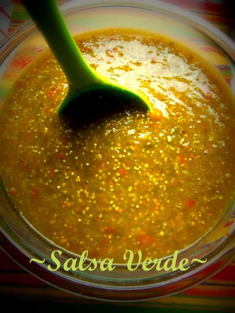 Salsa Verde with both Chile Serrano and Chile de Arbol