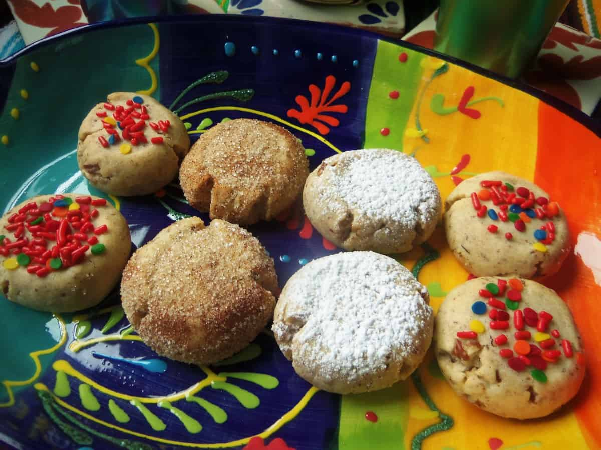Polvorones also known as Wedding Cookies when left round and rolled in powdered sugar.