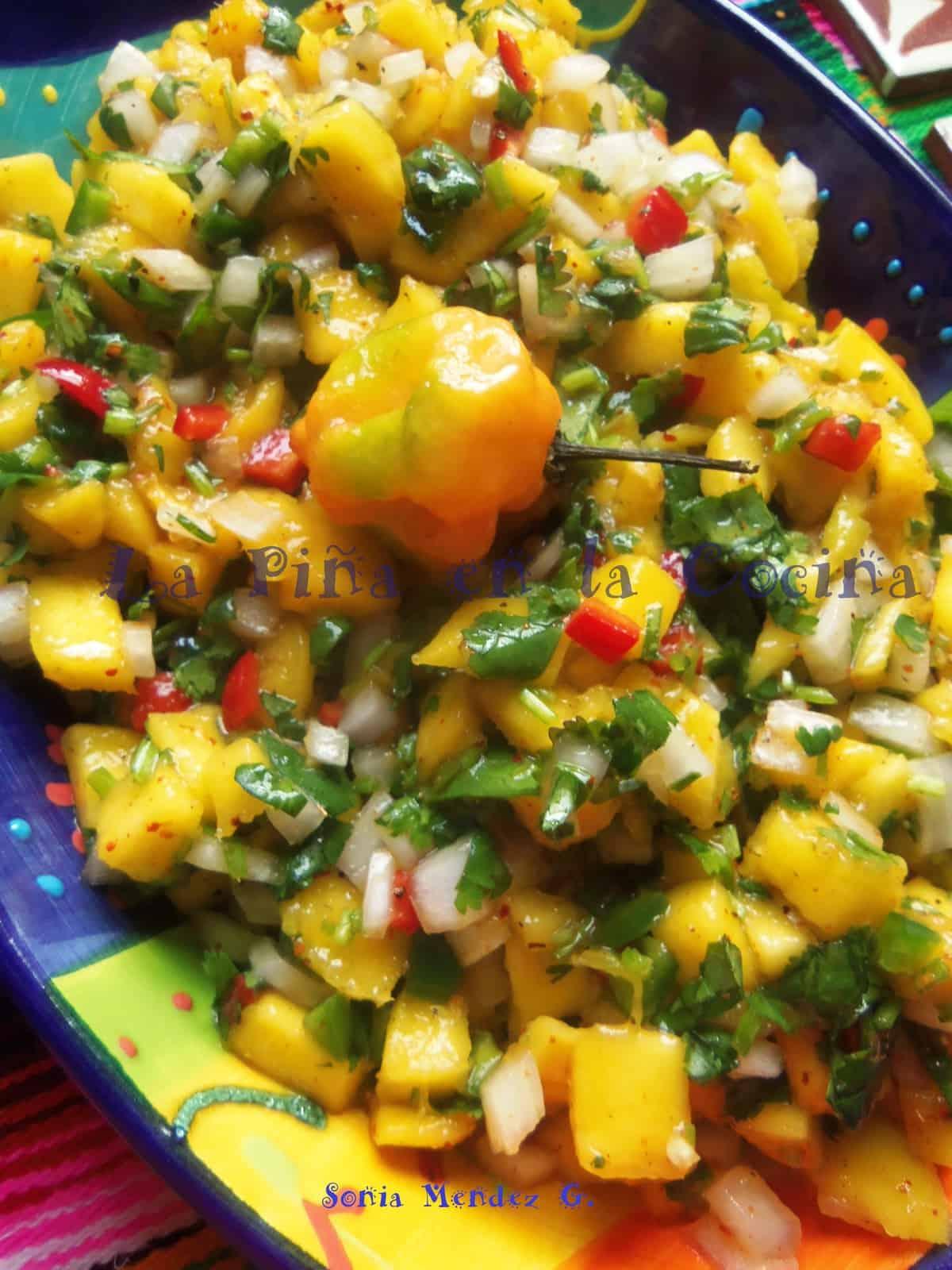 Fresh Mango Salsa with Habanero, Fresno and Serrano Chiles