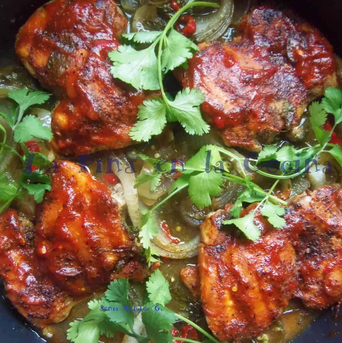 Spicy Mango Barbeque Chicken Garnished with Fresh Cilantro