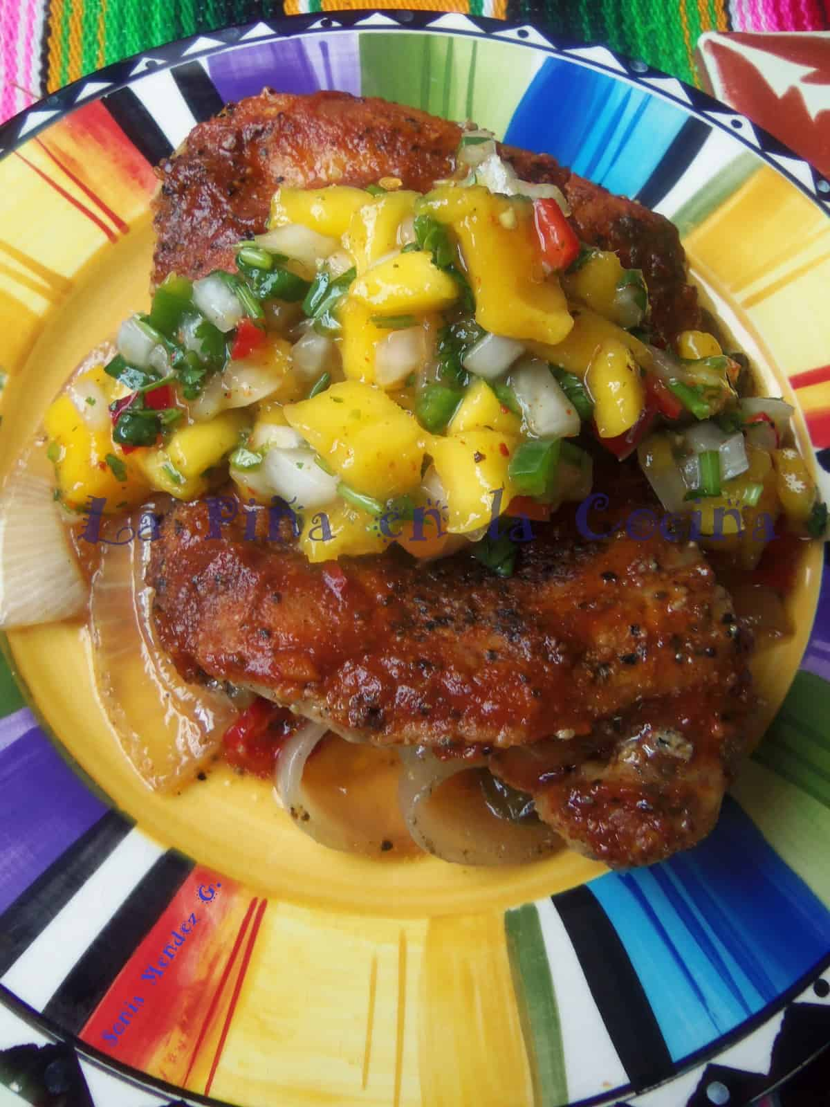 Spicy Mango Barbeque Chicken with Fresh Mango Salsa