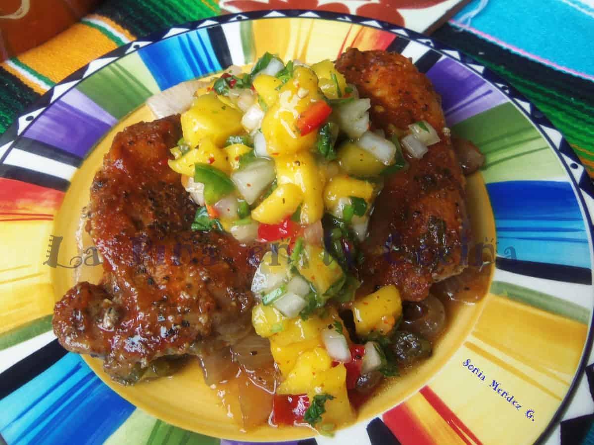 Spicy Mango Barbeque chicken with Fresh Mango Salsa