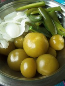 Blanched Tomatillos, Onions and Serrano Peppers for Salsa Verde