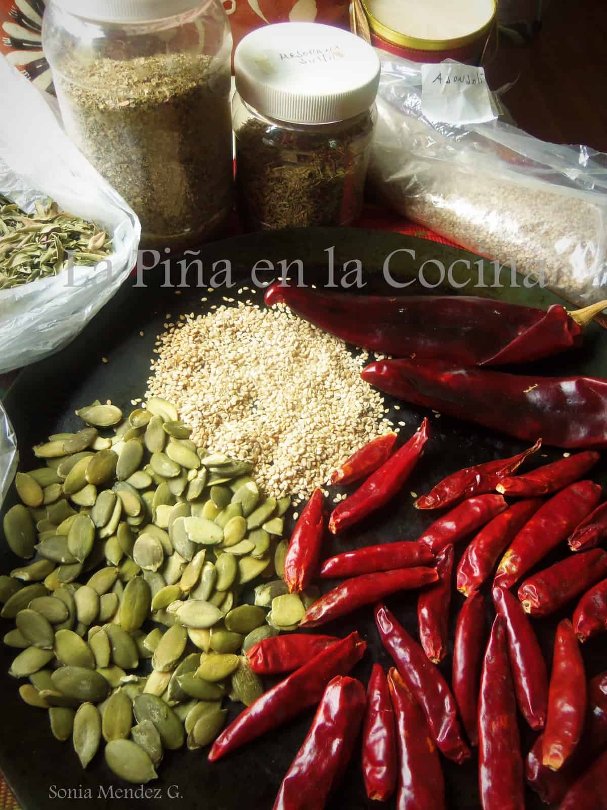Dried chiles, herbs,nuts and seeds are all essential to an authentic Mexican kitchen.