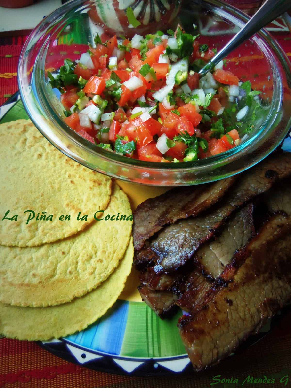 Smoked Beef Brisket, Pico de Gallo and Fresh Corn Tortillas
