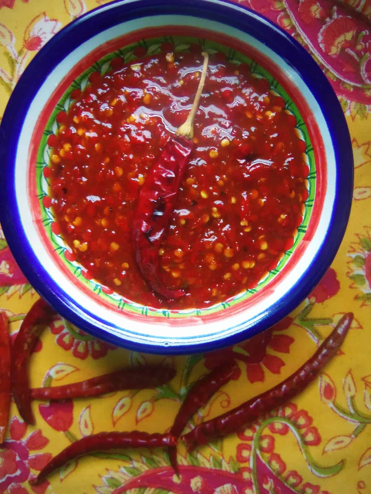 Chile de Arbol Hot Sauce. The vinegar will preserve this chile sauce for a few months.