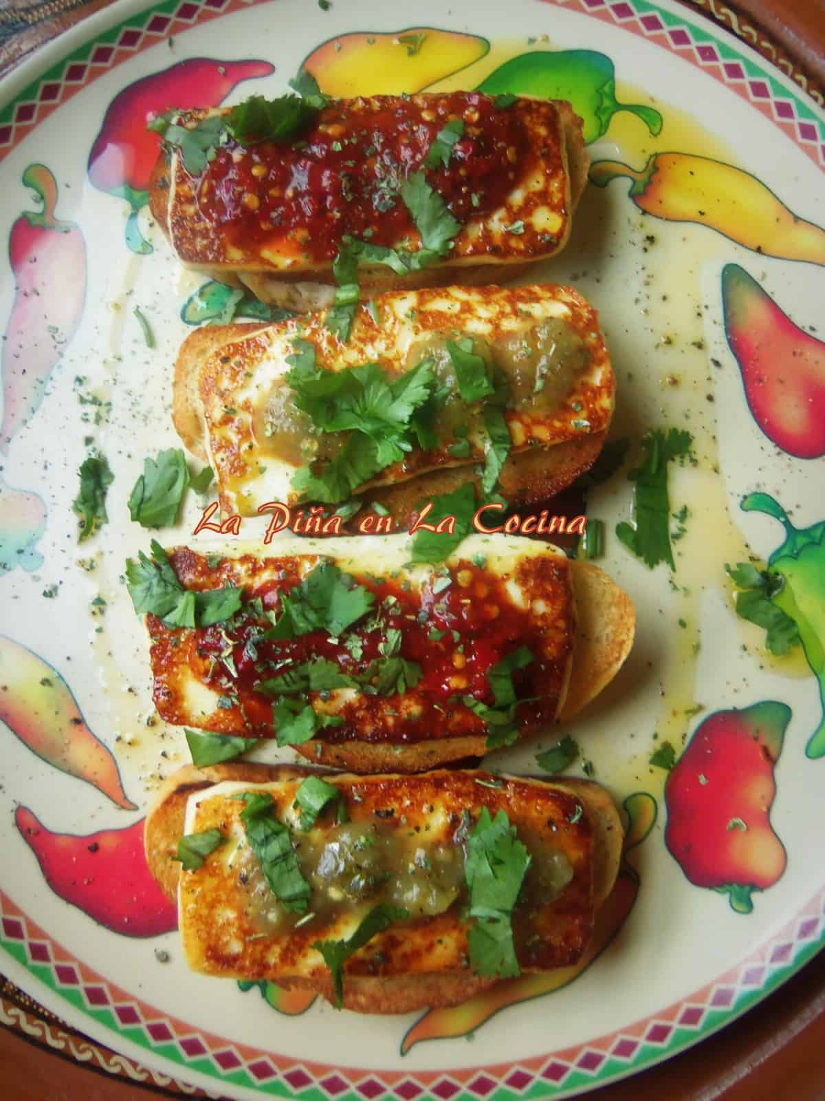 Queso de Freir~ fried Cheese on Crostini with Salsa
