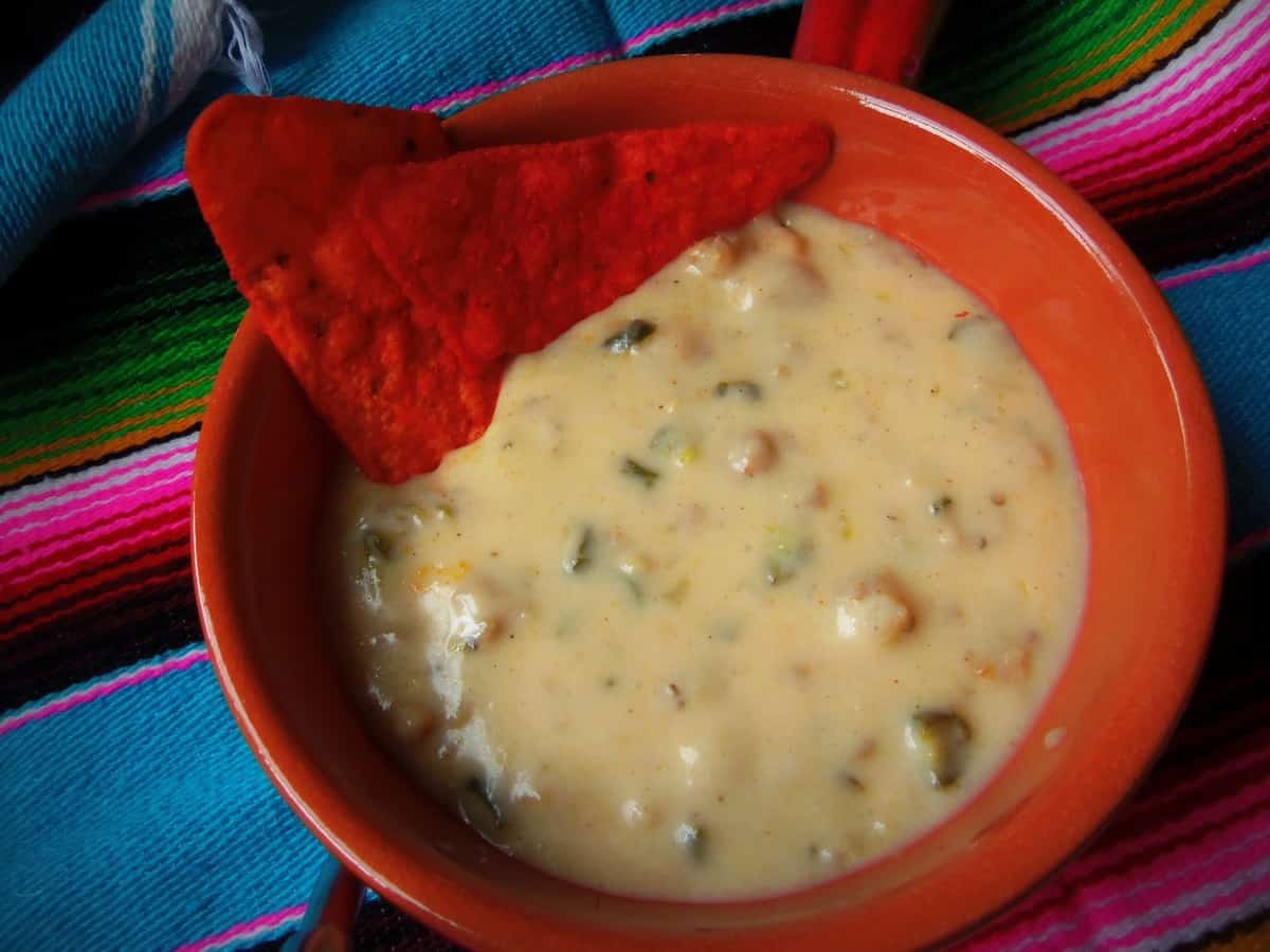 Queso con Chiles Toreados, a few more ingredients than the first recipe, but equally tasty!