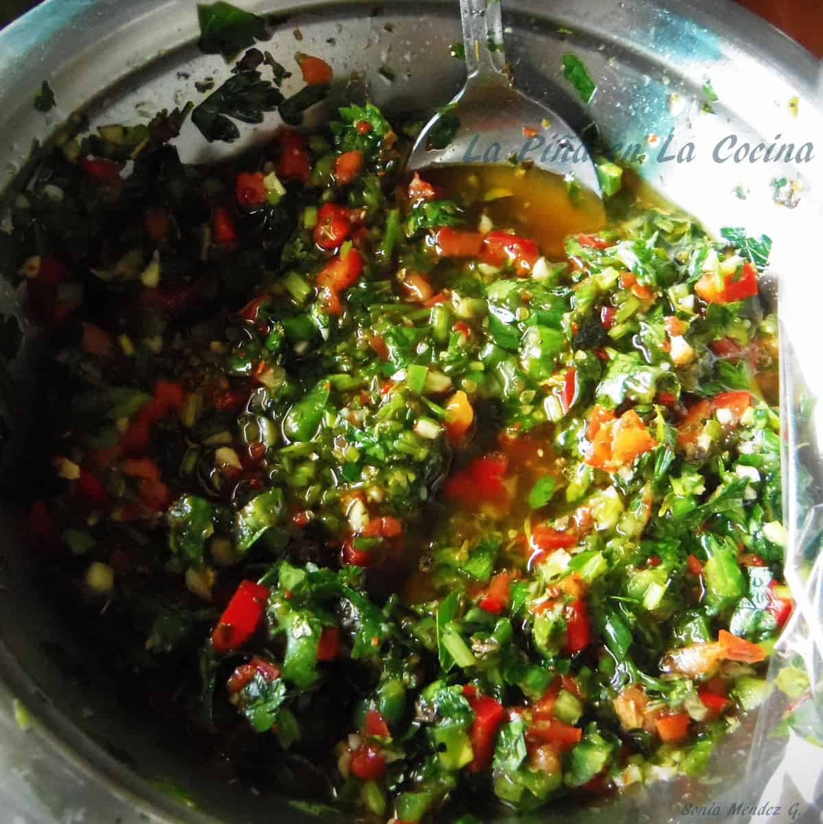 Finely chopped chimichurri, delicious! Finely chopped chimichurri the next day, fantastic!